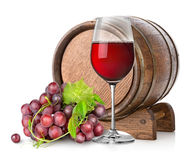 Wineglass with grape and barrel Stock Image