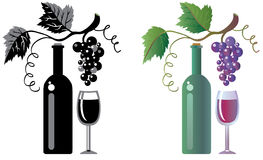 Wineglass and grapevine stock illustration