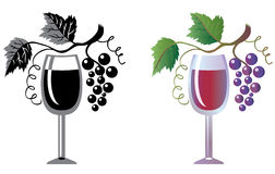 Wineglass and grapevine vector illustration