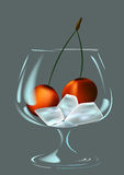 Wineglass, ice and cherry Stock Image
