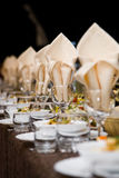 Wineglass and napkin. Table with wineglass and napkin in restaurant Stock Photography