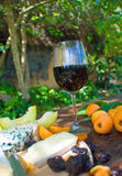 Wineglass On Picnic Table Stock Image