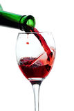Wineglass red wine bottle Royalty Free Stock Image
