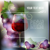 Wineglass of Red wine and grapes. Wineglass of Red wine and dark grapes. Abstract background. Place for text. Vector illustration.EPS Stock Images