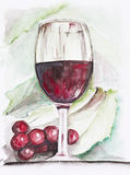 Wineglass with red wine. Wineglass  with red wine and grapes -  handmade watercolor painting  illustration on a white paper art background Royalty Free Stock Photos