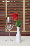 Wineglass and rose Royalty Free Stock Images
