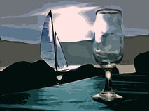 Wineglass and sailboat in background at night Royalty Free Stock Photo