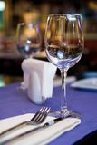 Wineglass on served table Royalty Free Stock Photos