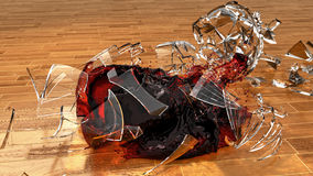 Wineglass Smashing On Hardwood Floor Royalty Free Stock Photos