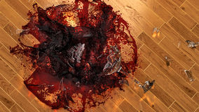Wineglass Smashing On Hardwood Floor Stock Image
