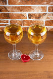 Wineglass on stone Royalty Free Stock Images