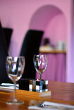 Wineglass on table. In restaurang Royalty Free Stock Images