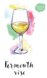 Wineglass of vermouth rise Royalty Free Stock Image