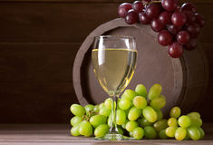Wineglass of vine. On  wooden background Stock Image