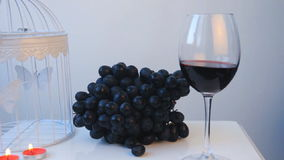 A wineglass with vine and grapes stock footage