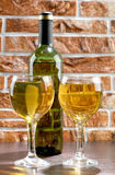 Wineglass and wall Royalty Free Stock Image