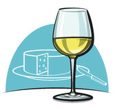 Wineglass with white dry wine Stock Image