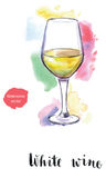 Wineglass of white wine. Hand drawn - watercolor vector Illustration Stock Photos