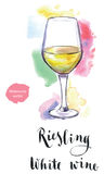 Wineglass of white wine Riesling. Hand drawn - watercolor vector Illustration Stock Photography