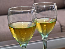Wineglass with white wine Royalty Free Stock Images