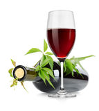 Wineglass and wine bottle with vine Stock Image