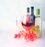 Wineglass, wine and grapes Stock Photo