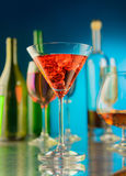 Wineglass with a wine and ice Royalty Free Stock Image