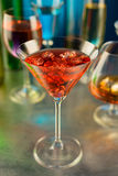 Wineglass with a wine and ice Stock Photography