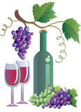 Wineglass, winebottle and grapevine royalty free illustration