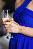 Wineglass in woman hands Royalty Free Stock Images