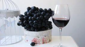 Wineglass z winogradem i winogronami zbiory wideo