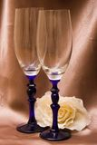 Wineglasses. Two wineglasses over brown silk background Stock Photo