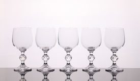Wineglasses. Five wineglasses isolated on white background Stock Photo