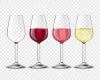 Wineglasses Alcohol Drinks Set Transparent Poster Royalty Free Stock Photo