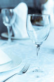 Wineglasses on the arranged table Stock Photo