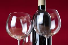 Wineglasses with bottle and carafe. Stock Image