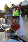 Wineglasses and bottle of wine Royalty Free Stock Image