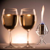 Wineglasses and Candle Royalty Free Stock Images