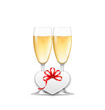 Wineglasses of Champagne and Paper Postcard for Happy Valentines Royalty Free Stock Images