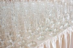 Wineglasses before fourchette clear and crystal Royalty Free Stock Image