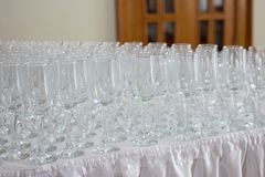 Wineglasses before fourchette clear and crystal Royalty Free Stock Photo
