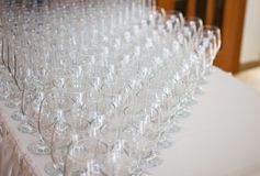 Wineglasses before fourchette clear and crystal Royalty Free Stock Images