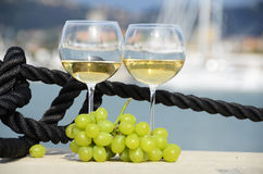 Wineglasses and grapes Stock Photography
