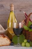Wineglasses with grapes and bread Royalty Free Stock Images