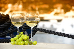 Wineglasses and grapes Royalty Free Stock Images