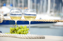 Wineglasses and grapes Royalty Free Stock Photography