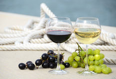 Wineglasses and grapes Royalty Free Stock Photo
