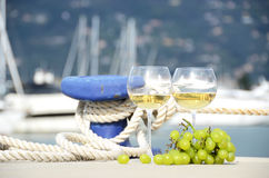 Wineglasses and grapes Stock Image