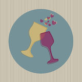 Wineglasses and hearts Stock Photography
