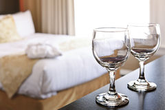 Wineglasses in hotel room Royalty Free Stock Photography